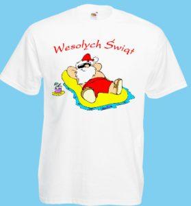 koszulka święty Mikołaj na plaży