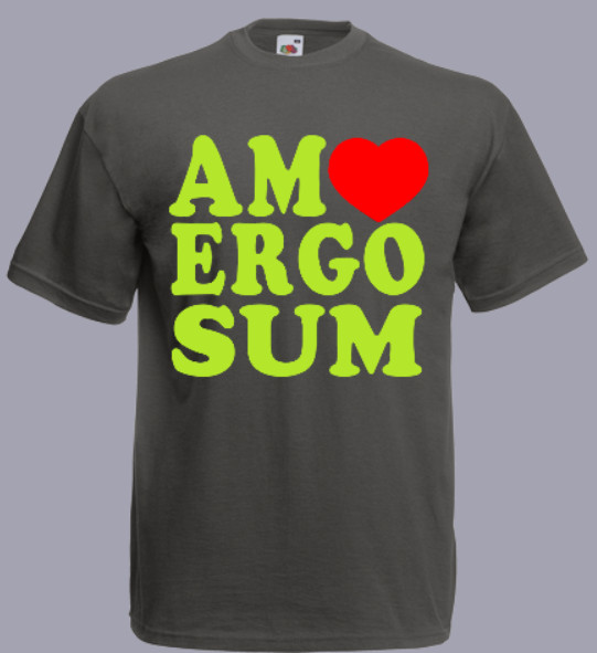 koszulka z napisem amo ergo sum