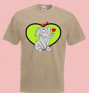 t-shirt słoń serce