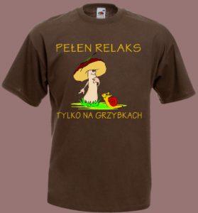 koszulka z grzybem i ślimakiem